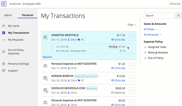 Emburse Cards personal transactions view
