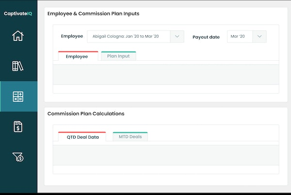 CaptivateIQ employee and commission plan inputs