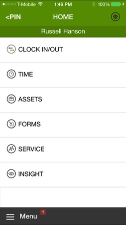 WorkMax TIME mobile clock in and out view