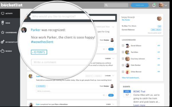 Bucketlist employee recognition screenshot.