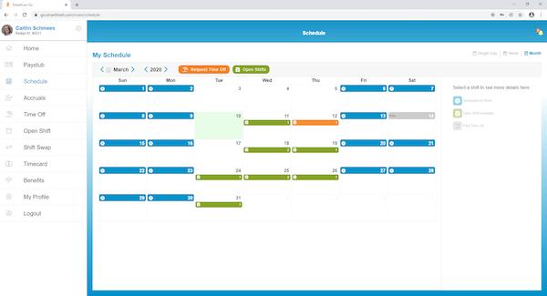 SmartLinx employee schedule