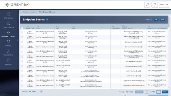 The Great Bay Network Intelligence Platform endpoint events