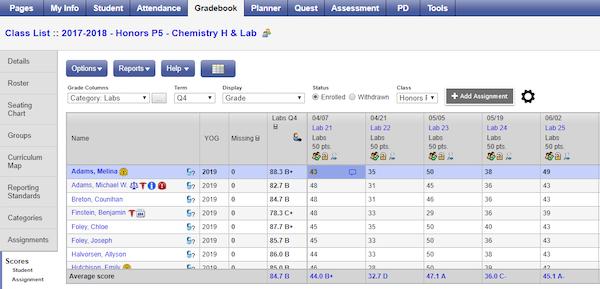 Enter assignment grades