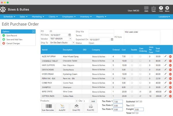 Envision Paws edit purchase order