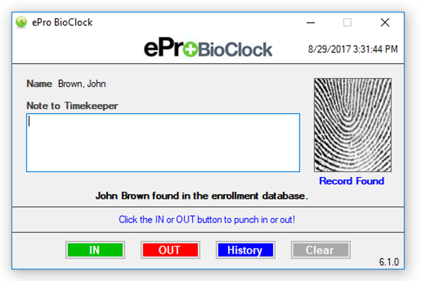 ePro Scheduler Plus biometerics