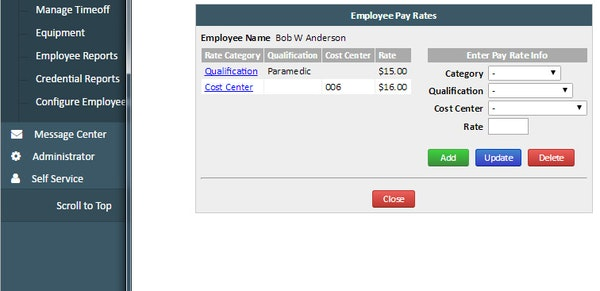 ePro Scheduler Plus employee pay rates