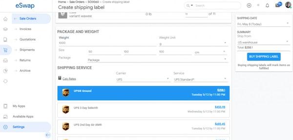 eSwap create shipping label