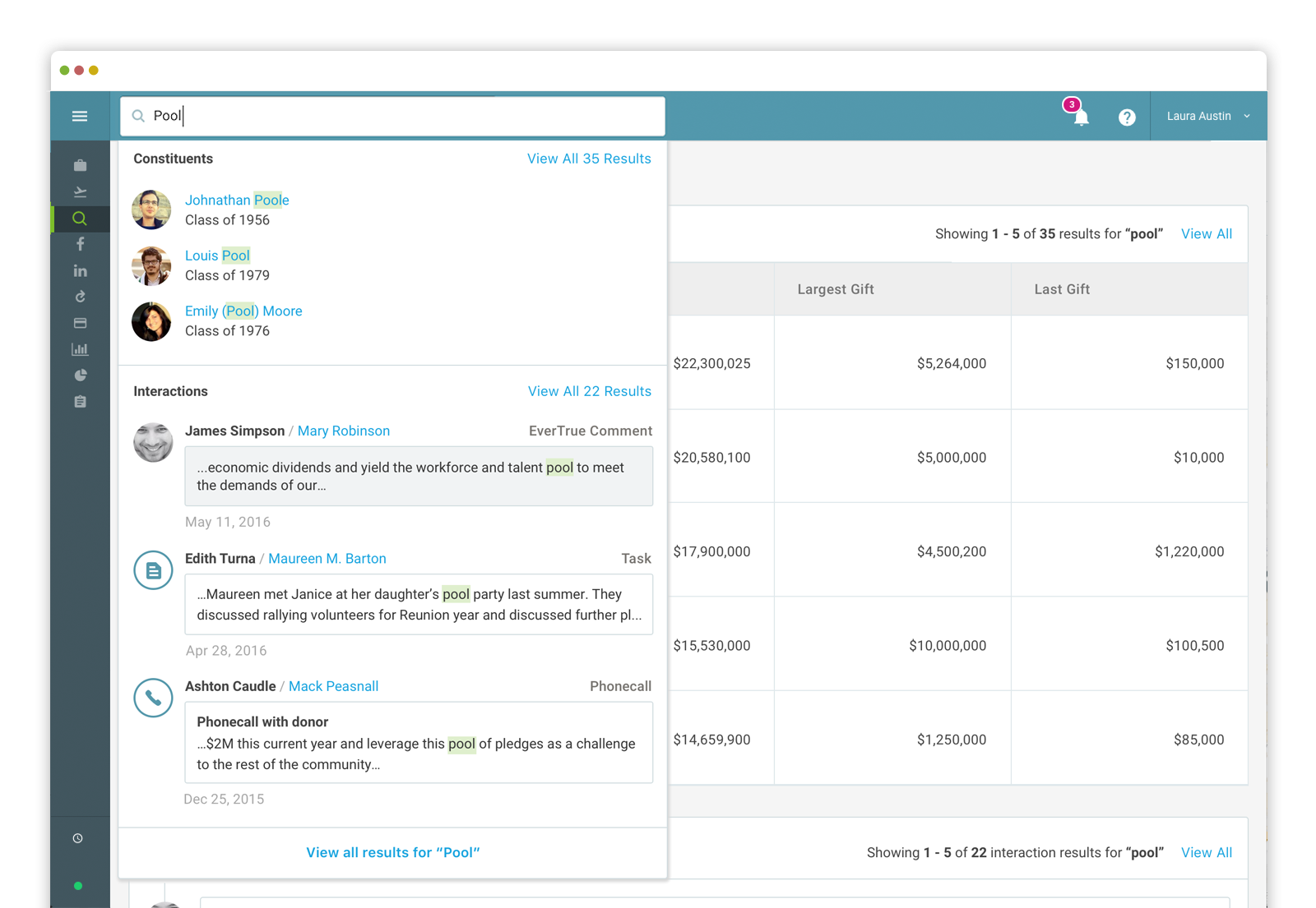 EverTrue - Search through contact reports