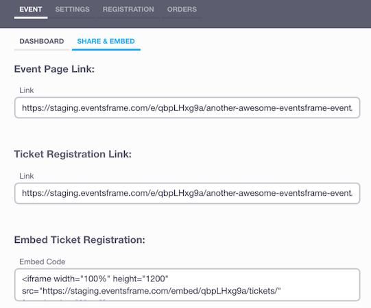 EventsFrame share event link