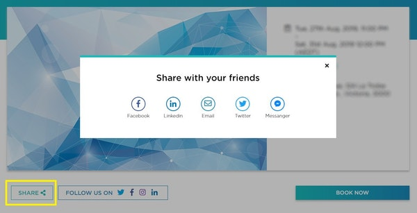 EventBookings social sharing screenshot