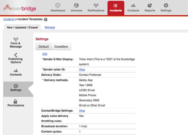 Everbridge Mass Notification settings