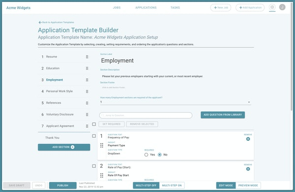 Job application builder