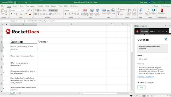 RocketDocs Microsoft Excel Launchpad Add-In