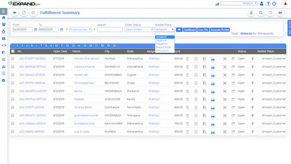 Expand ERP order fulfillment screenshot