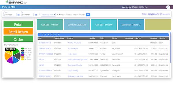 Expand ERP POS dashboard screenshot
