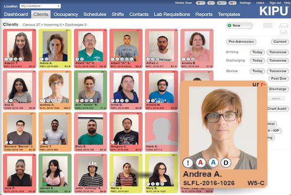 The Kipu EMR visual faceSheet