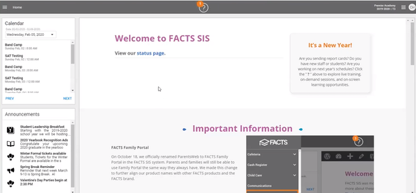 FACTS student information system dashboard