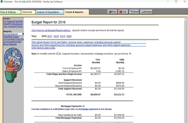 Family Law Software forms and reports screenshot