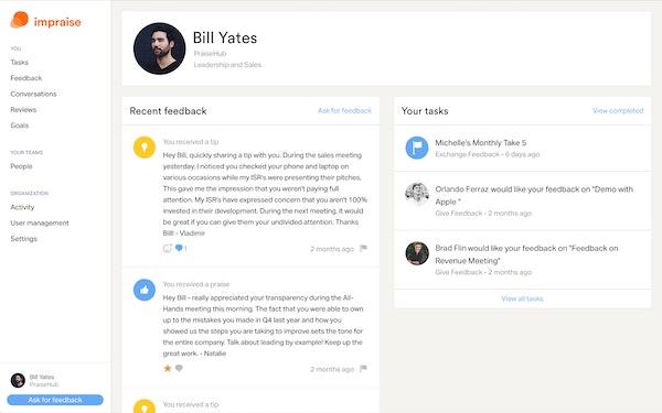Impraise feedback screenshot.