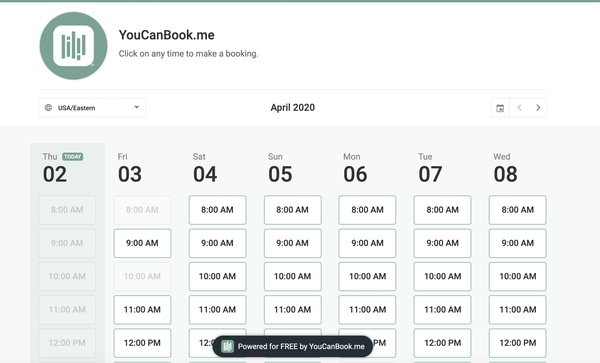 YouCanBook.me booking calendar