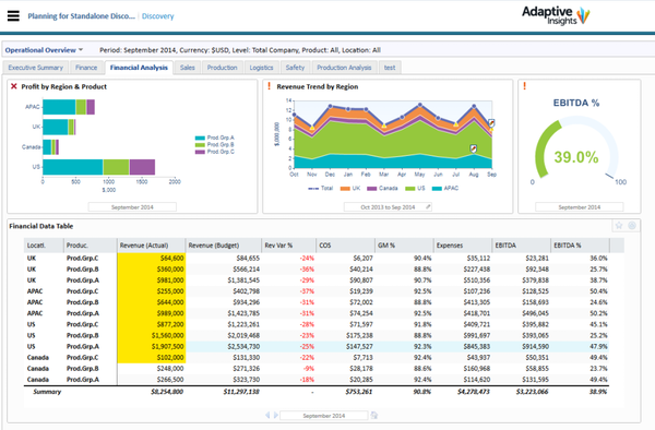 Adaptive Planning financial analysis