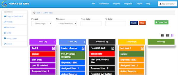 FinClock task tracking screenshot