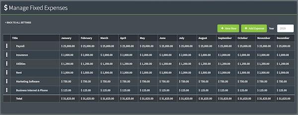 FuelGauge fixed expense management screenshot