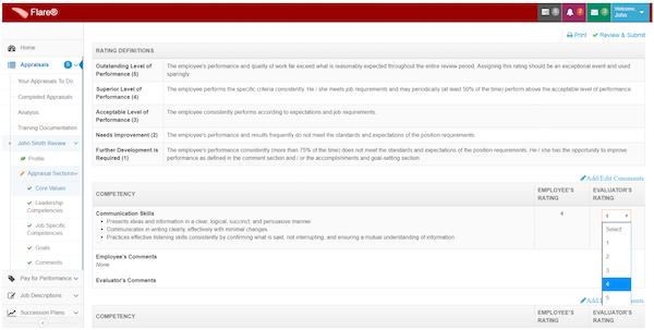 FlareTM performance review screenshot
