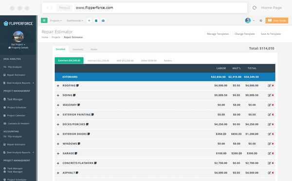 FlipperForce repair estimator screenshot