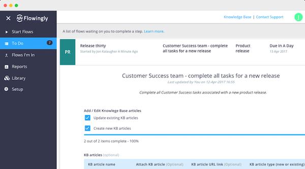 Flowingly task list screenshot