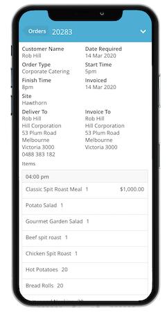 FoodStorm Catering Software order details