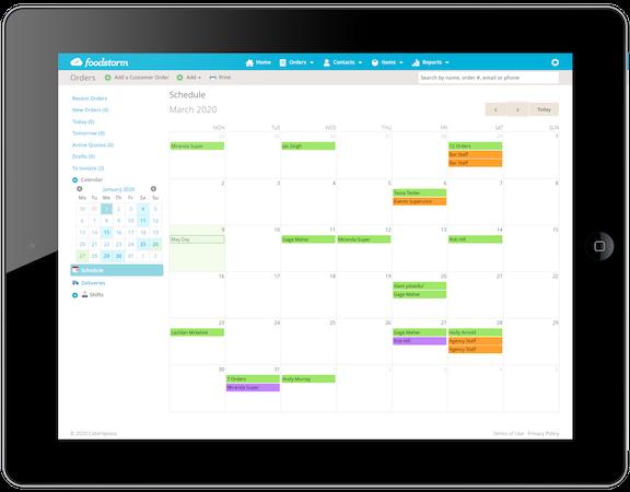 FoodStorm Catering Software schedule