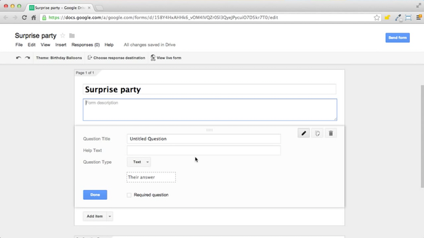 Google Forms form editor