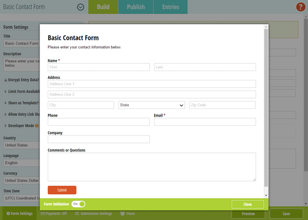Cognito Forms validating forms