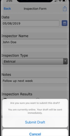 Formotus inspection form submission