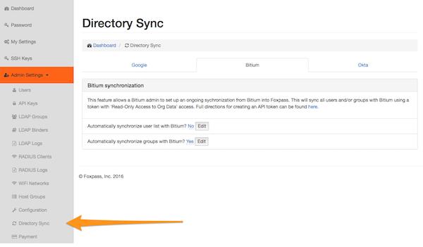 Foxpass directory sync screenshot