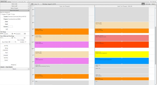 Multi-provider color-coded scheduling
