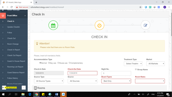 Hotel Management System front office check-in screenshot