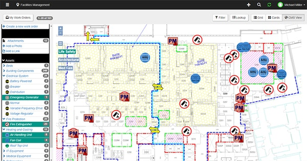 Facilities Survey CMS work order indicators screenshot
