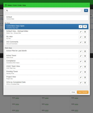 Facilities Survey CMS work order creation screenshot