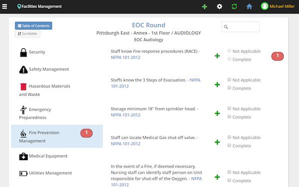 Facilities Survey CMS facilities management screenshot
