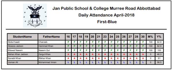 JSiMS attendance record