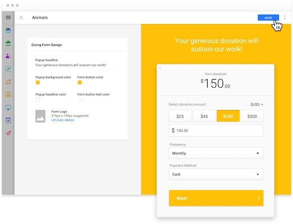 Funraise donation screenshot