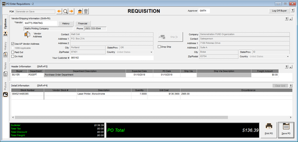 Purchase Order Requisitions Window