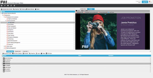 FWI Content Manager content library screenshot