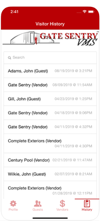 Gate Sentry visitor history
