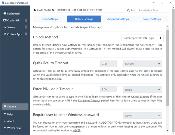 GateKeeper Enterprise unlock settings