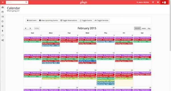 Gingr scheduling calendar