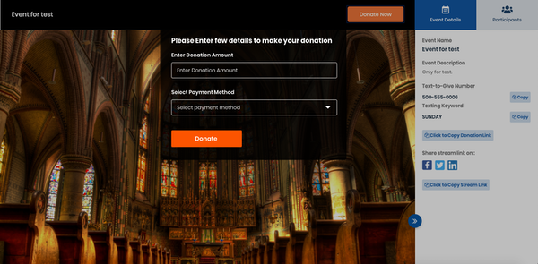 GiveCentral Live donation details