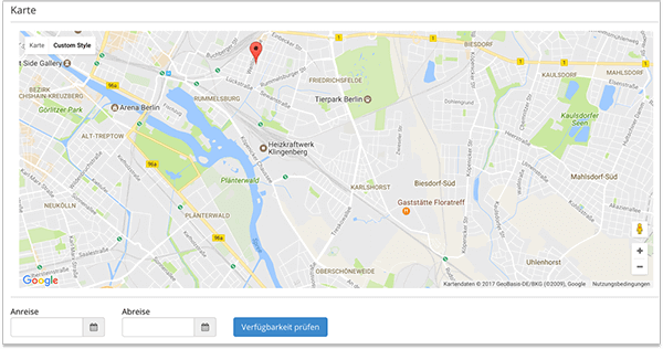 Smoobu Google maps integration